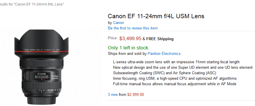 canon 11-24mm lens in stock