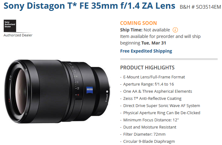 sony FE 35mm lens to start shipping