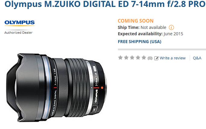 Olympus M 7-14mm F2.8 lens coming