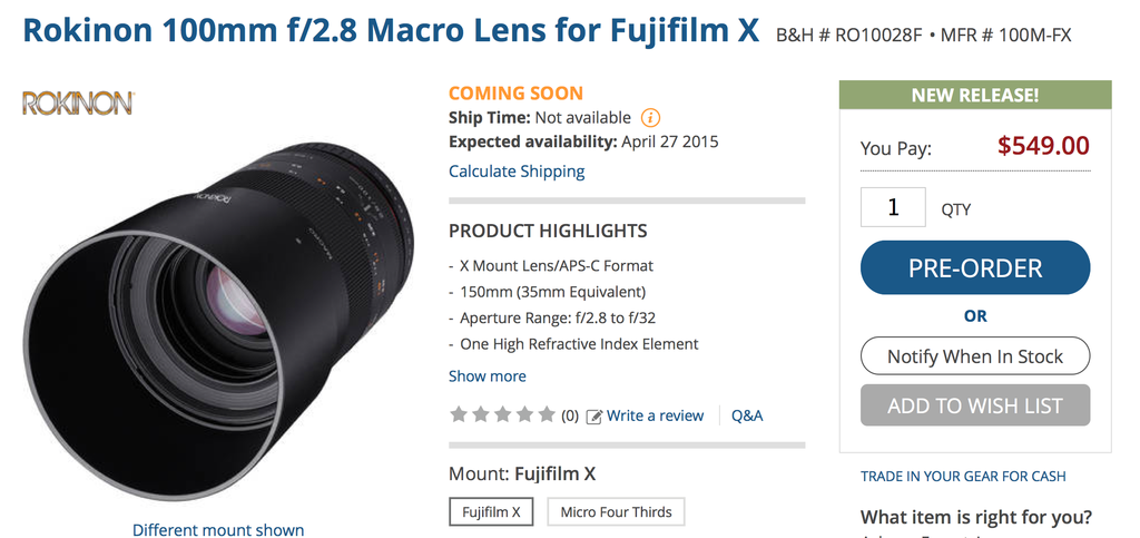samyang 100mm f2.8 lens listed at BH