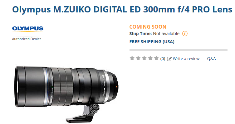 Olympus 300mm F4 Pro lens coming