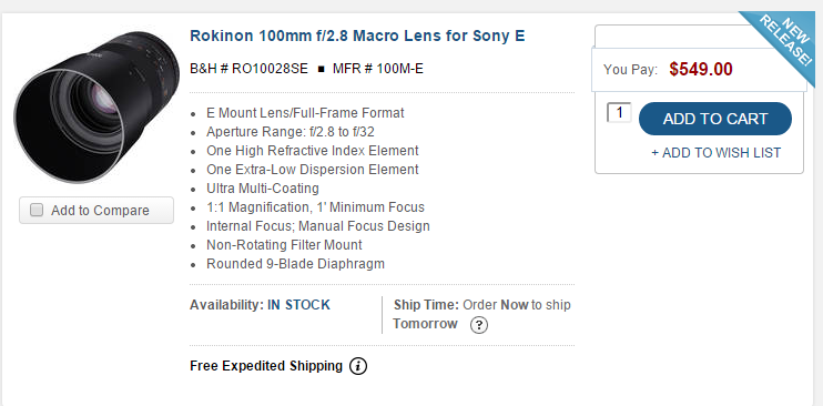 Rokinon 100mm F2.8 macro lens for Sony E in stock