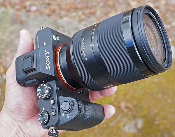 Sony FE 24-240mm OSS shown on the Sony A7 II