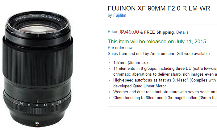 Fujifilm XF 90mm F2 lens released date