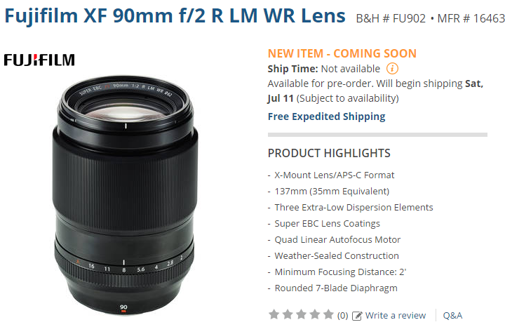 Fujifilm XF 90mm F2 lens released date2