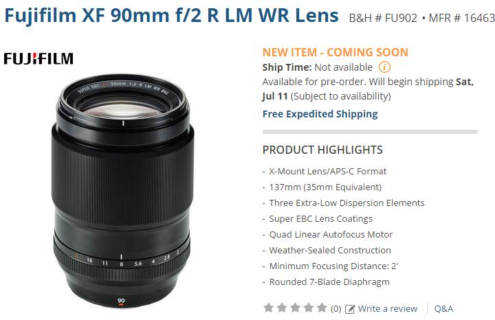 Fujifilm XF 90mm F2 lens released date2