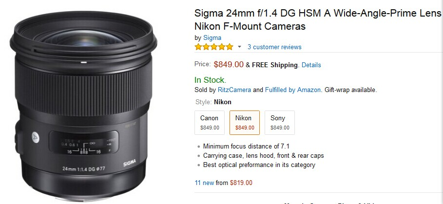 Sigma 24mm F1.4 DG ART lens for Nikon in stock