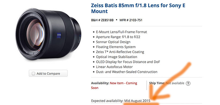 Zeiss Batis lens delayed