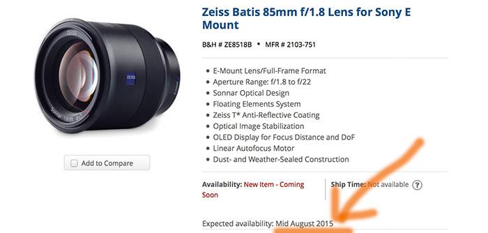 Zeiss Batis lens delayed