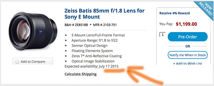 batis85mm start shipping on July 17