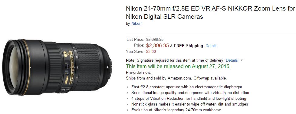 Nikon AF-S Nikkor 24-70mm F2.8E ED VR lens delayed