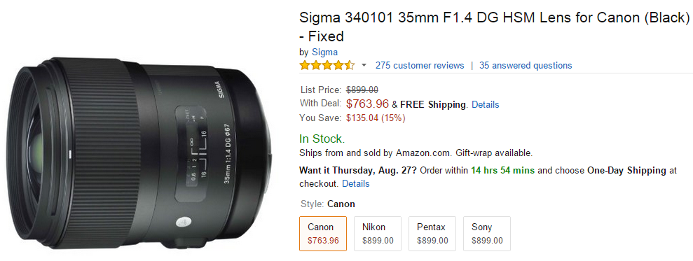 Sigma 35mm F1.4 DG Art lens deals