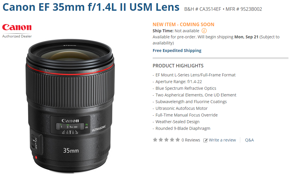 Canon EF 35mm F1.4L II USM lens shipping