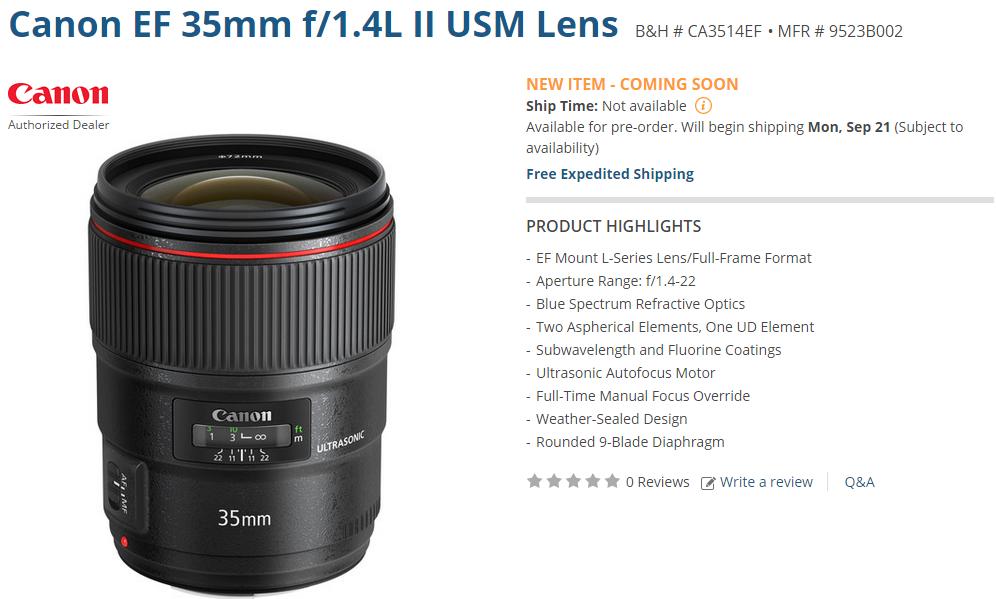 Canon EF 35mm F1.4L II USM lens shipping