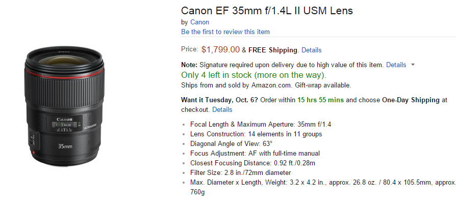 Canon EF 35mm F1.4L II lens in stock