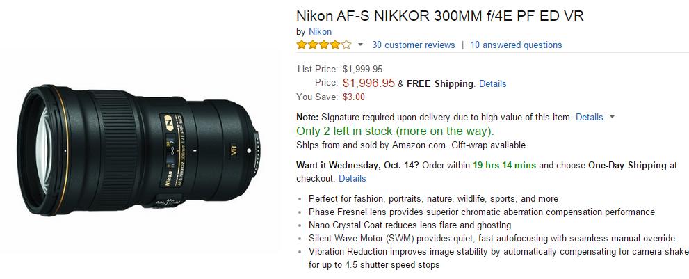 Nikon AF-S Nikkor 300mm F4E ED VR PF lens