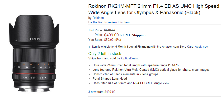 Rokinon 21mm F1.4 lens in stock