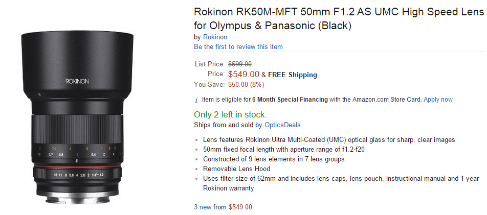 Rokinon 50mm F1.2 lens in stock