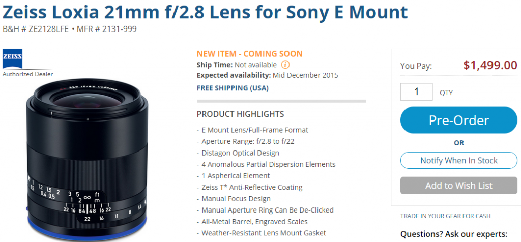 Zeiss Loxia 21mm F2.8 lens pre-order
