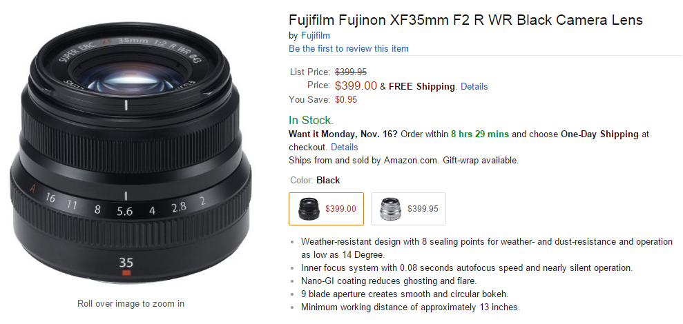 Fujifilm XF 35mm F2 R WR lens in stock