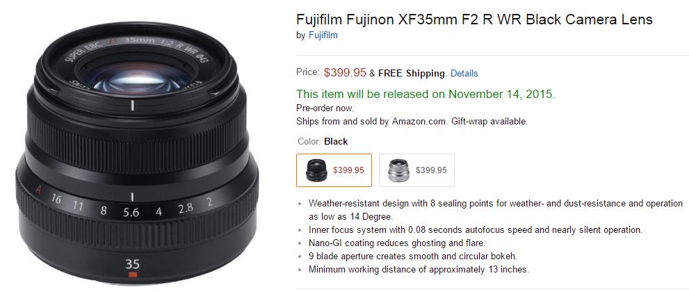 Fujifilm XF 35mm F2 R WR lens shipping