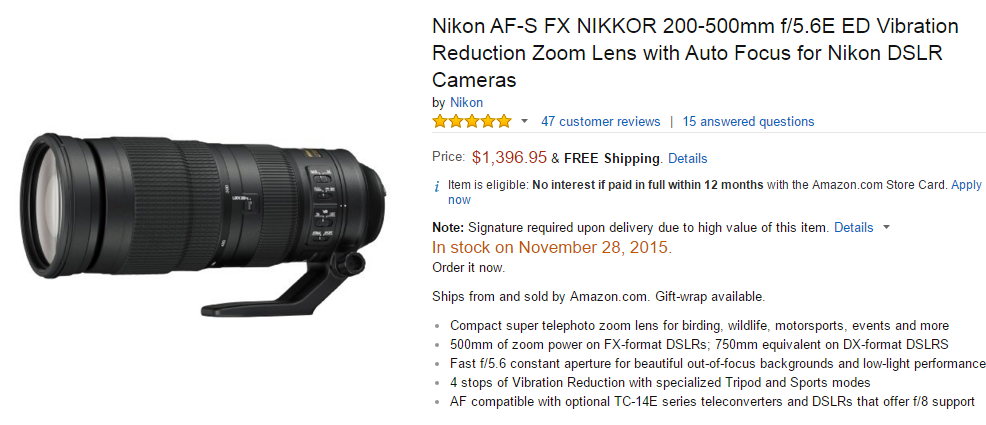 Nikon AF-S Nikkor 200-500mm F5.6E ED VR lens in stock