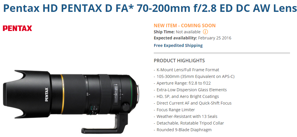 Pentax FA 70-200mm F2.8 lens delayed
