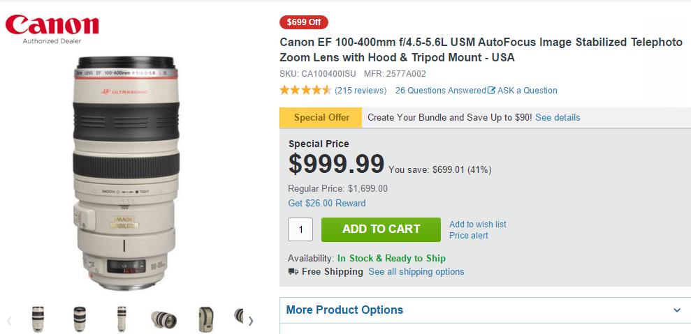 Canon EF 100-400mm F4.5-5.6L IS usm lens deals