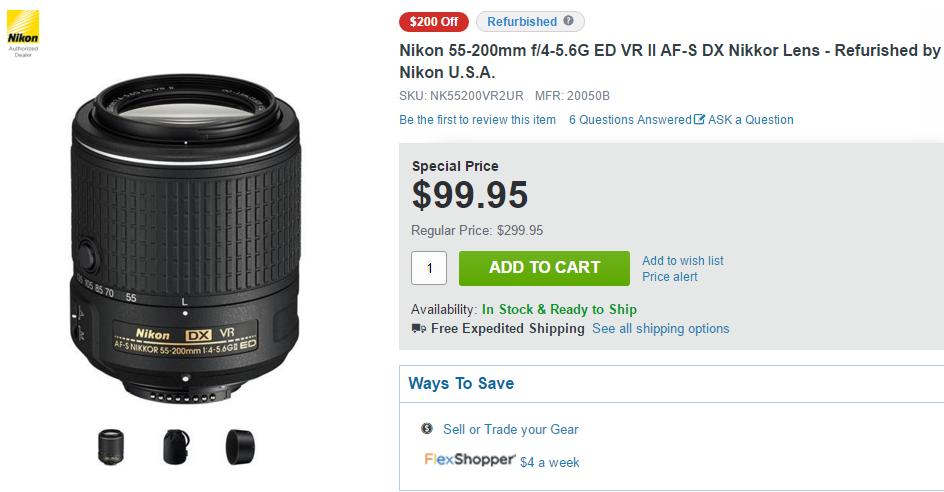 Nikon AF-S nikkor 55-200mm F4.5-5.6 DX VR II deals