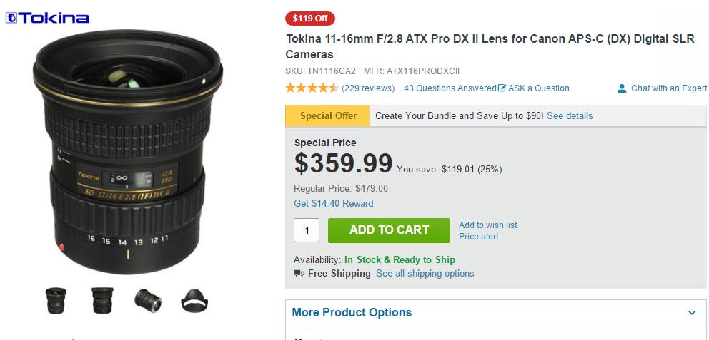 Tokina 11-16mm F2.8 ATX Pro DX II lens