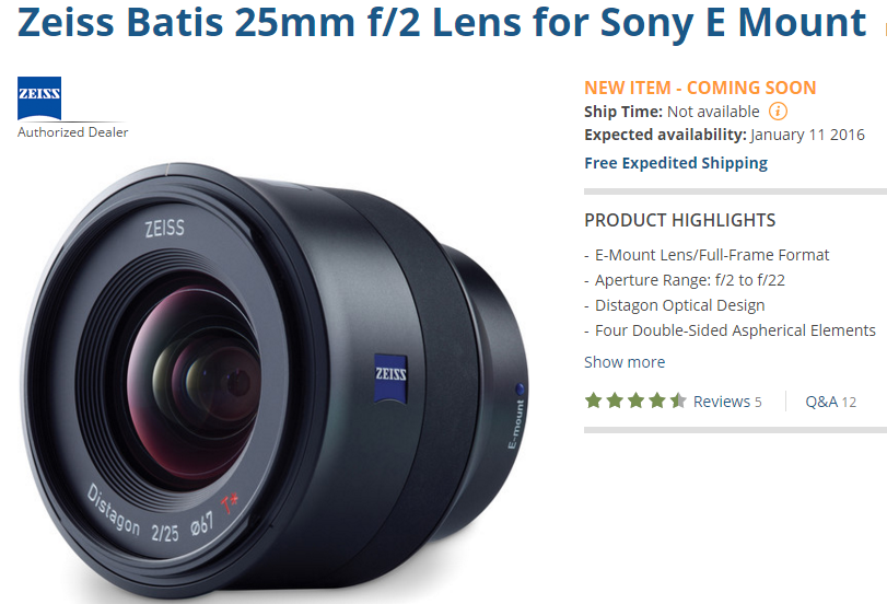 Zeiss Batis 25mm F2 lens shipping
