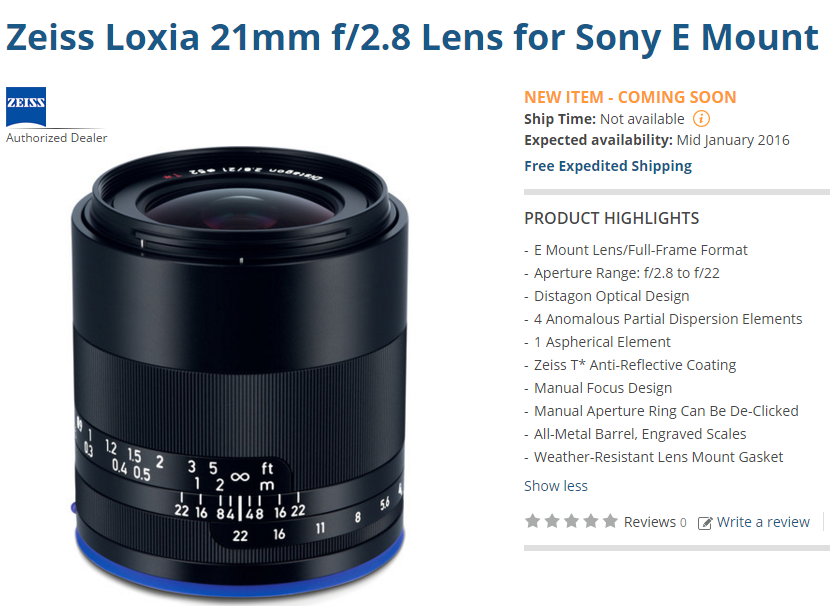 Zeiss Loxia 21mm F2.8 lens delayed