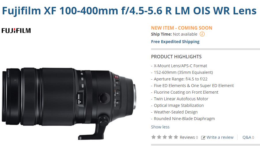 Fujifilm XF 100-400mm lens pre-order
