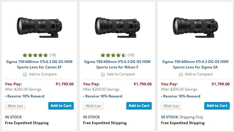 Sigma 150-600 sport lens deals