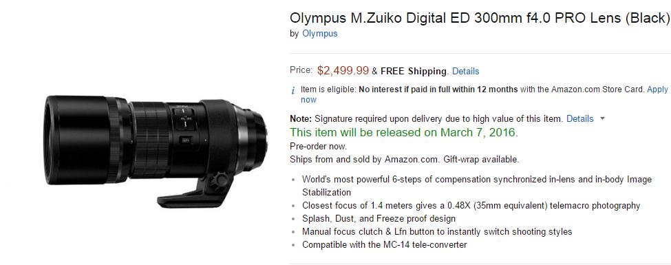 olympus 300mm f4 lens pre-order