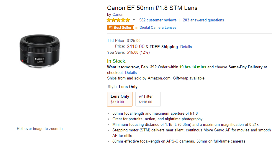 Canon EF 50mm F1.8 STM lens deal