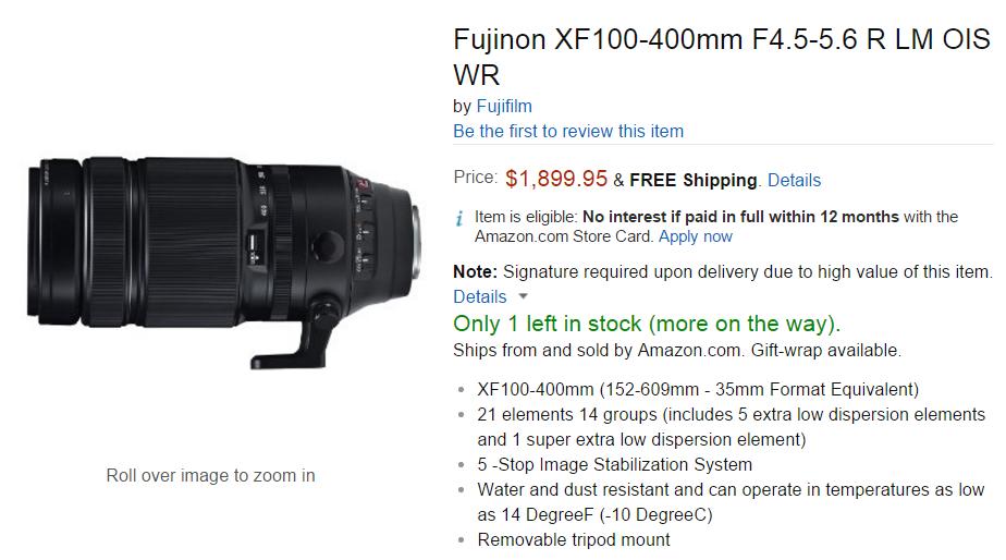 Fujifilm xf 100-400mm F4-5.6 lens in stock