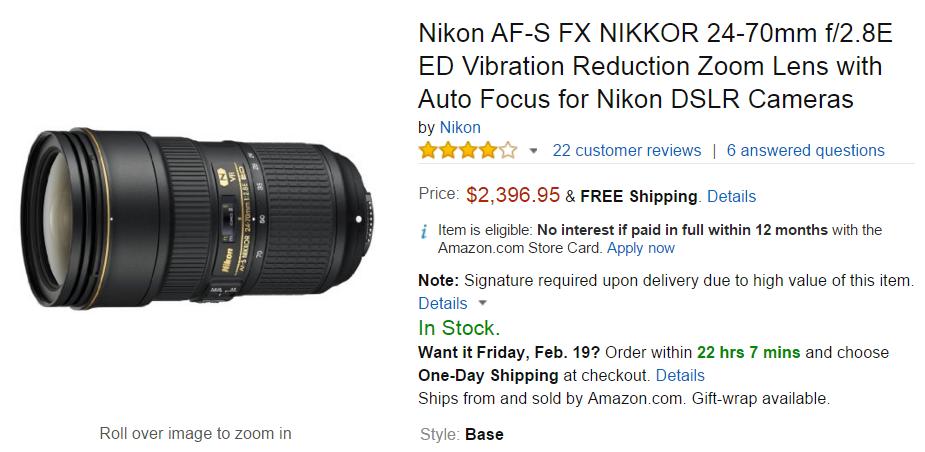 Nikon AF-S Nikkor 24-70mm F2.8 E ED lens base
