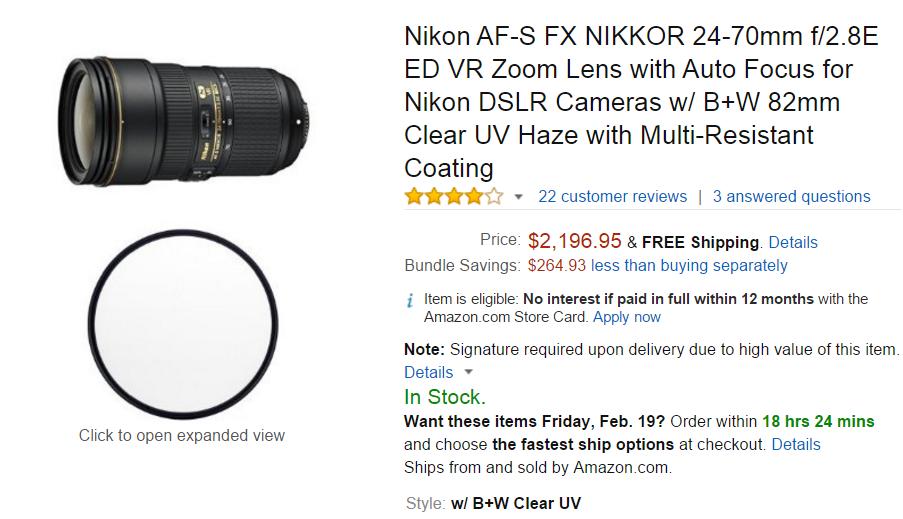 Nikon AF-S Nikkor 24-70mm F2.8 E ED lens w UV