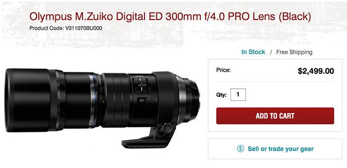Olympus ED 300mm F4.0 Pro lens in stock