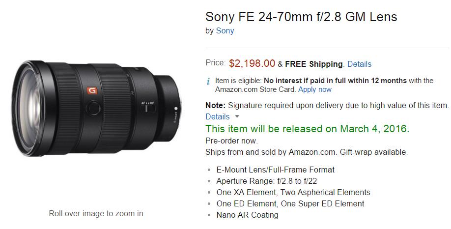 Sony FE 24-70mm F2.8 GM lens pre-order