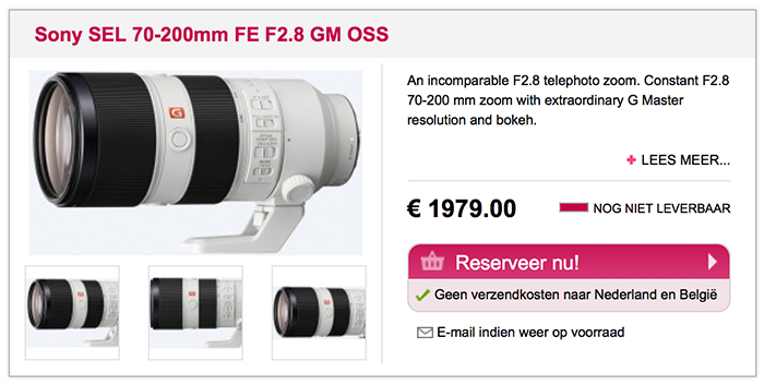 Sony FE 70-200mm F2.8 GM OSS lens price