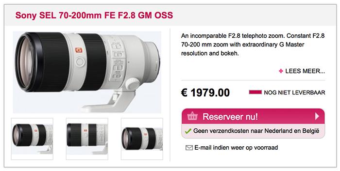Sony FE 70-200mm F2.8 GM OSS lens price