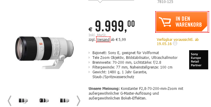 Sony FE 70-200mm GM lens price