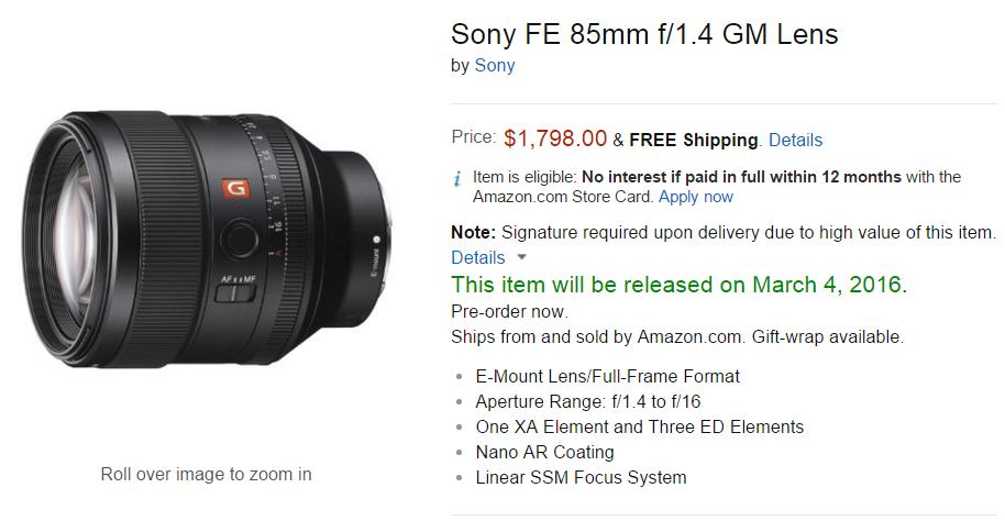 Sony FE 85mm F1.4 GM lens pre-order