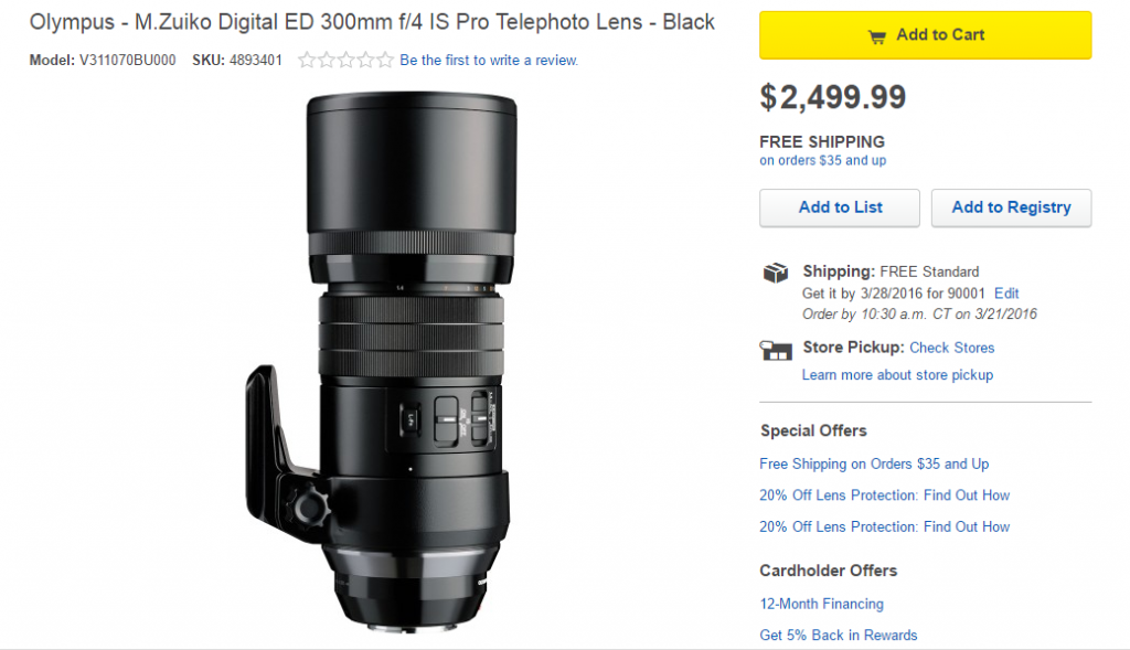 Olympus 300mm f4 IS Pro lens in stock