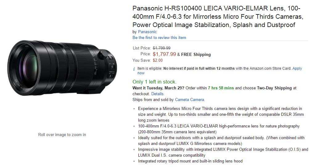 Panasonic leica 100-400mm f4.0-6.3 in stock