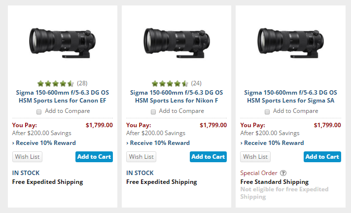 Sigma 150-600mm F5.0-6.3 DG sport lens deal