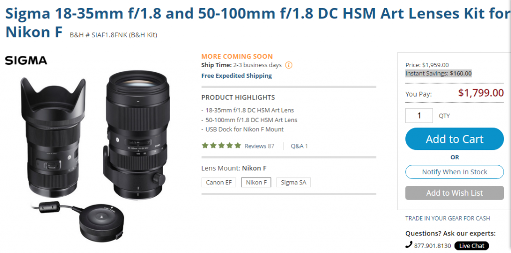 Sigma 18-35 and 50-100 f1.8 DC HSM Art lenses deal