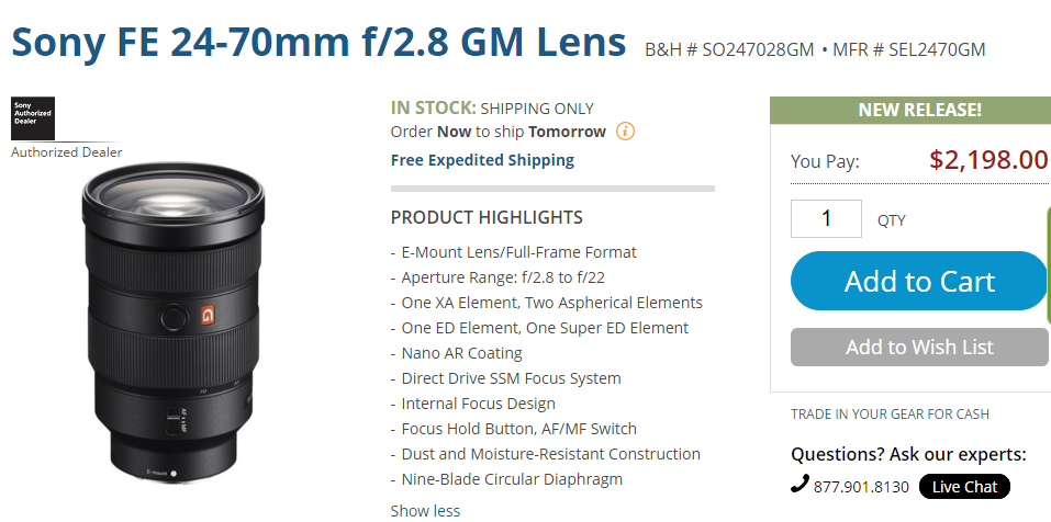 Sony FE 24-70mm F2.8 GM lens in stock